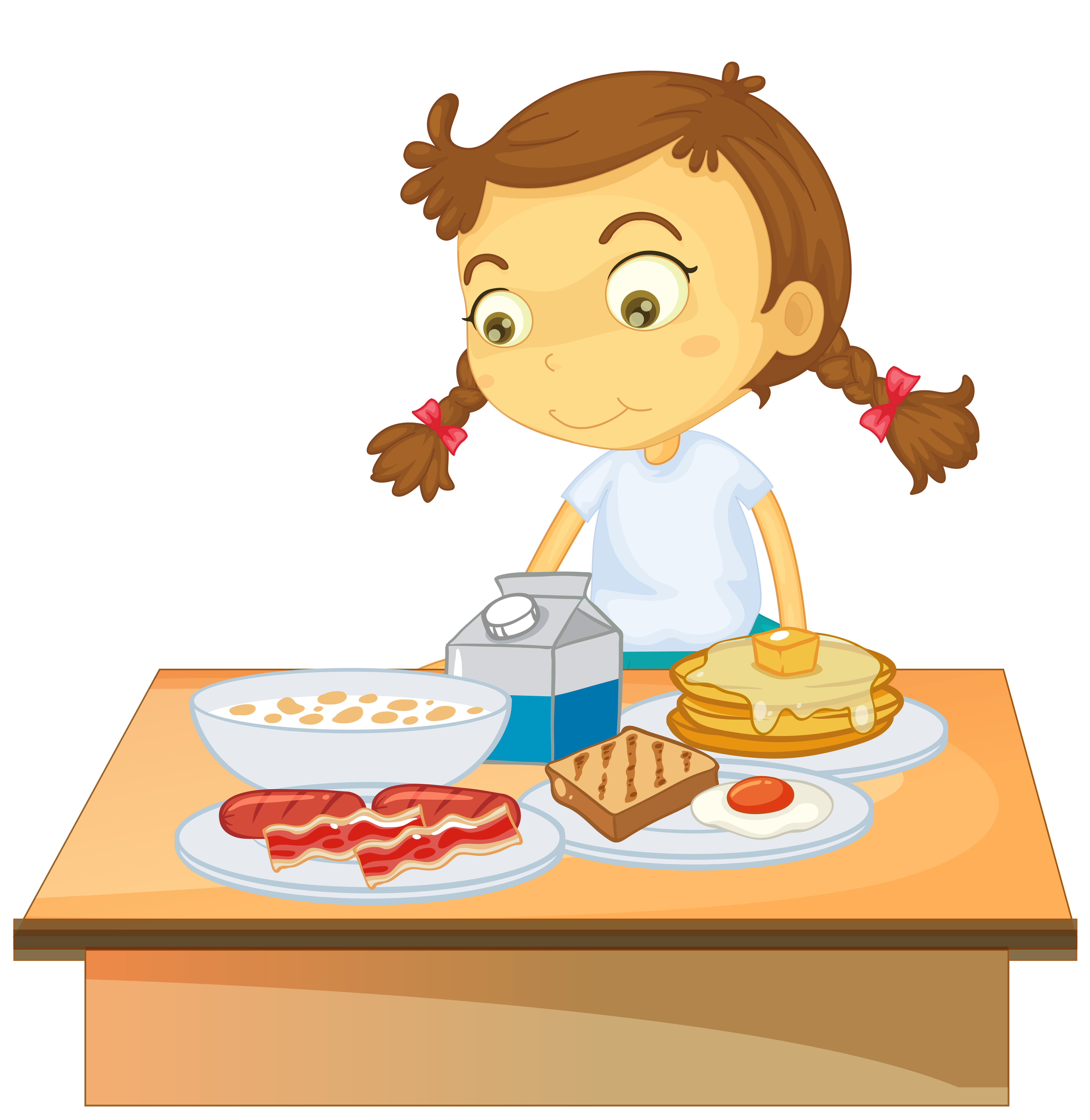 A Girl Eating Breakfast on White Background - Download ...