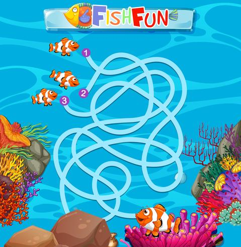 Unterwasserfischlabyrinth-Spielschablone
