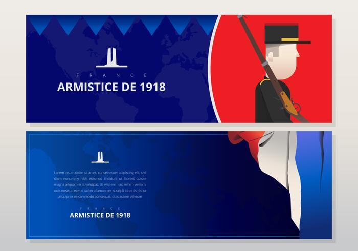 Ilustración del día del armisticio francés, con la bandera de Francia, Europa