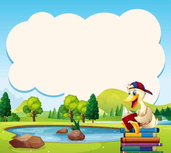 Plantilla de frontera con libro de lectura de pato en el parque