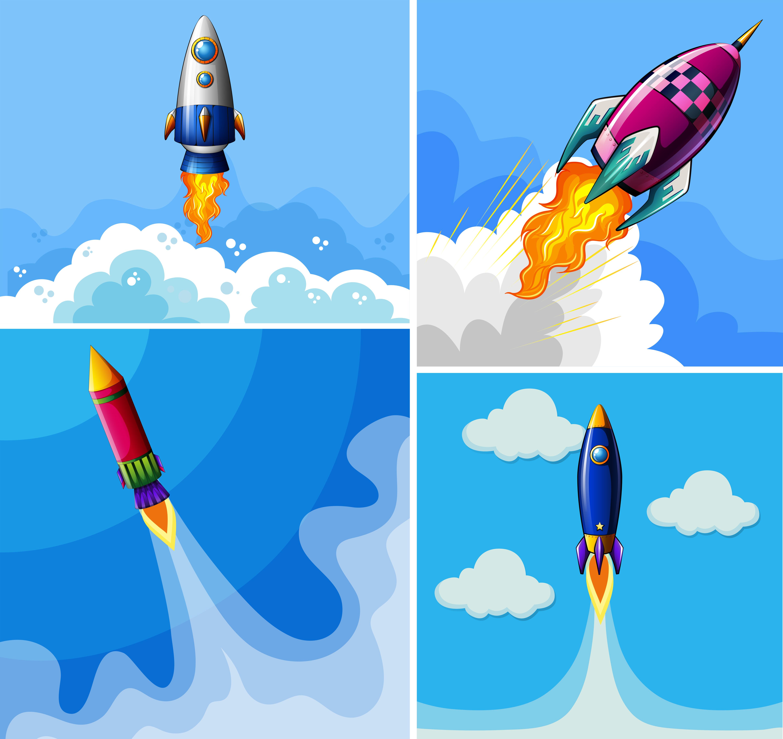 Rockets Flying In The Blue Sky