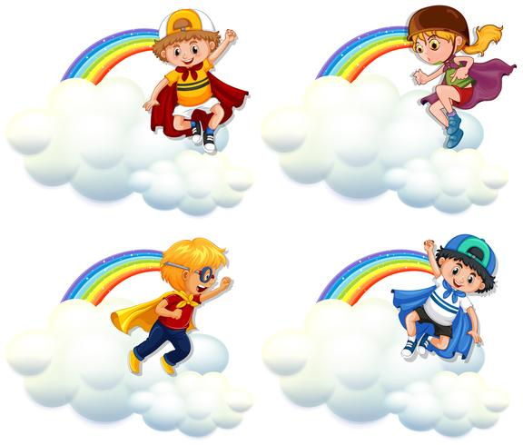 Four kids in hero costume flying over rainbow