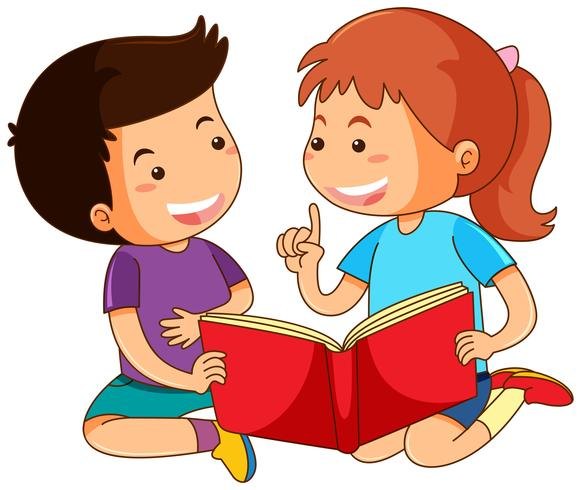 Menino e menina lendo livro de histórias