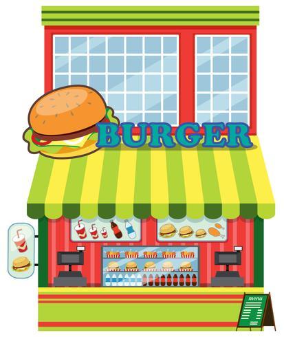 Exterior de la tienda de hamburguesas.