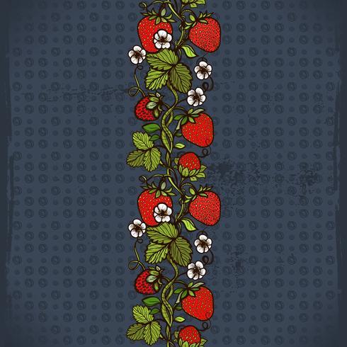 Abstract patroon van het kleuren het naadloze kant met bloemen, bladeren en aardbei op de achtergrond.