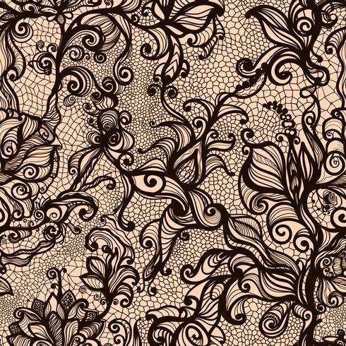 Vector de encaje sin patrón decorativo fresa, hojas, entrelazadas con viscosa de líneas.