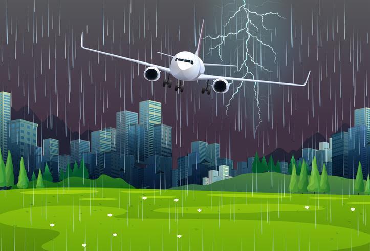 Aereo in volo sotto la pioggia