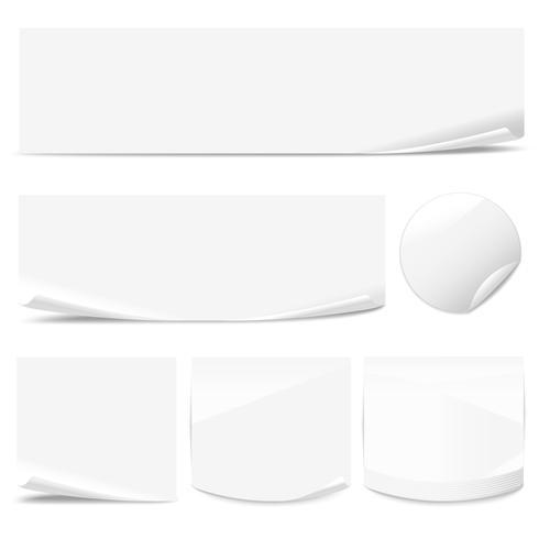 Set van Witboek stickers met gekrulde hoeken van verschillende vormen