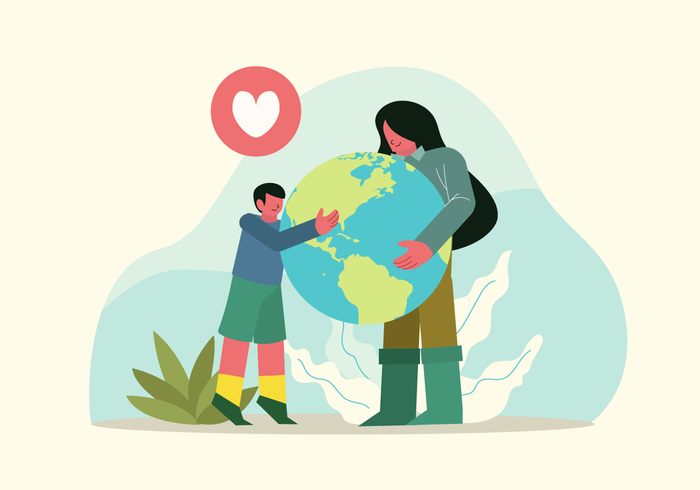 People Celebrating Earth Day vector Character Illustration