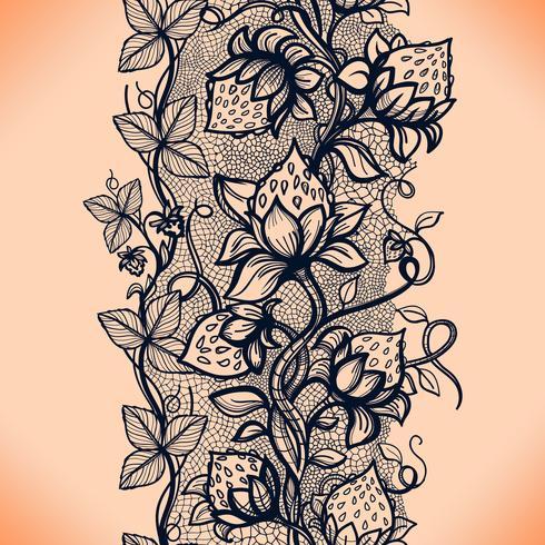 Vector la fragola decorativa del modello senza cuciture del pizzo, foglie, intrecciate con viscoso delle linee.