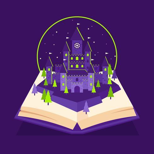 Libro pop-up di Wizard School Castle vettore