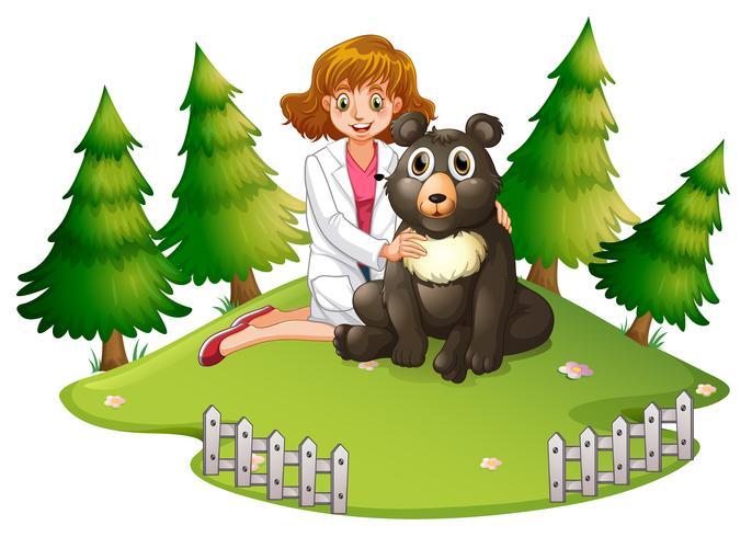 Tierarzt und Bär im Zoo