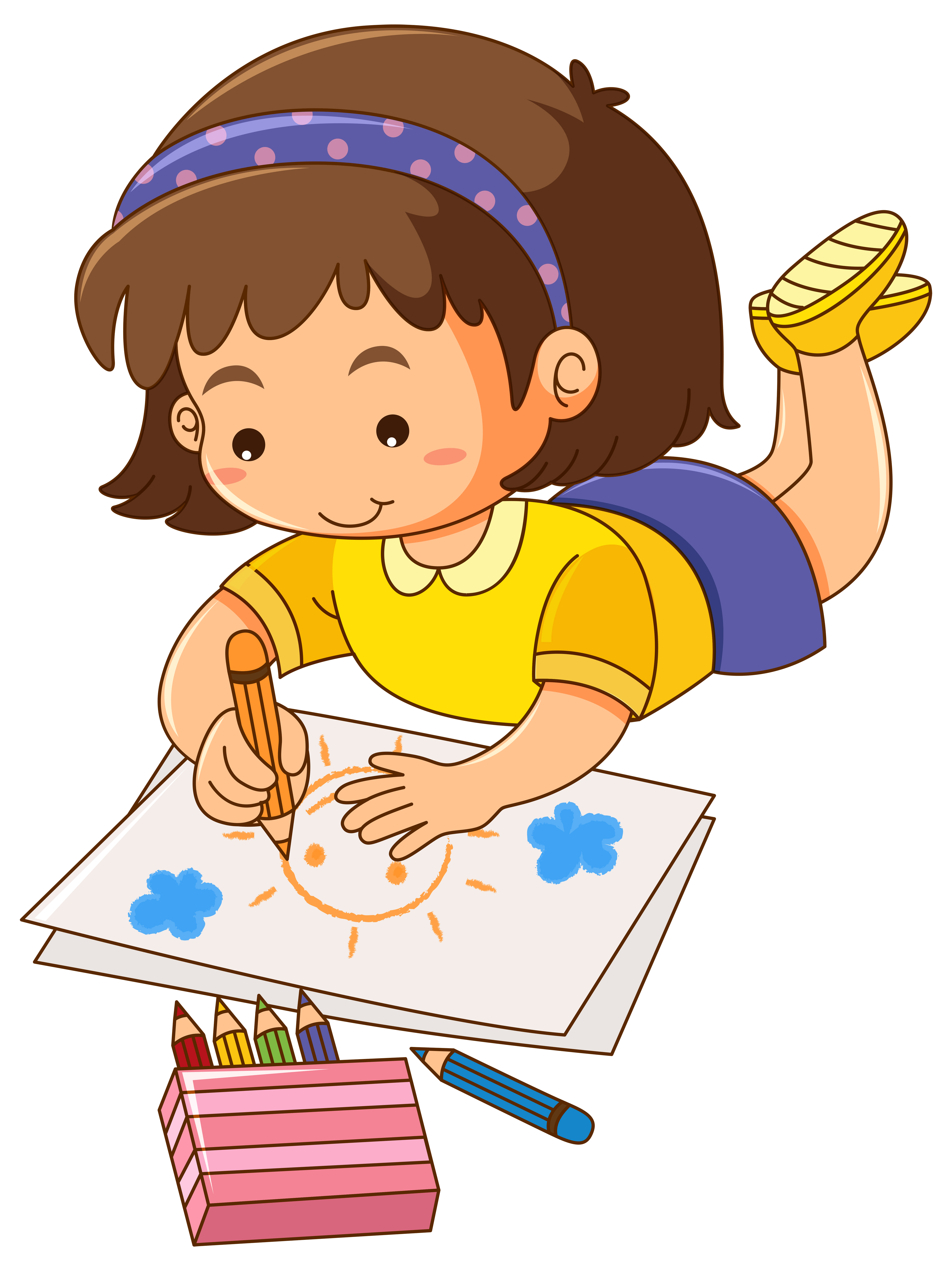 Little girl drawing sun on paper - Download Free Vectors ...