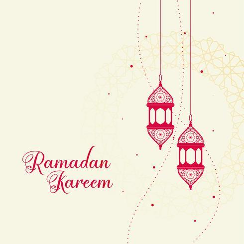red decorative islamic lantern on white background