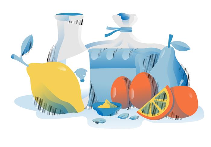 Comida sana nutrición conjunto Vector ilustración plana