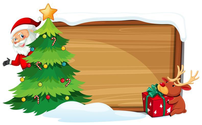 Bandeira de madeira de Natal dos desenhos animados