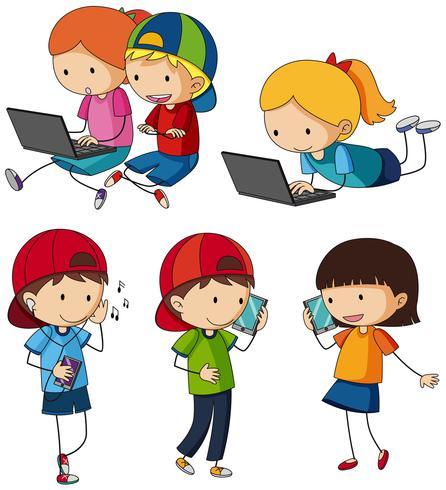Barn gör olika aktiviteter med underhållningsenheter