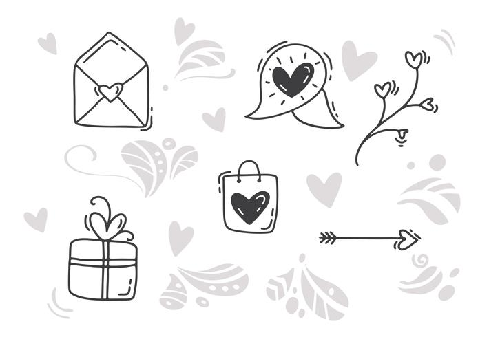 Elementos dibujados a mano del día de San Valentín de Monoline