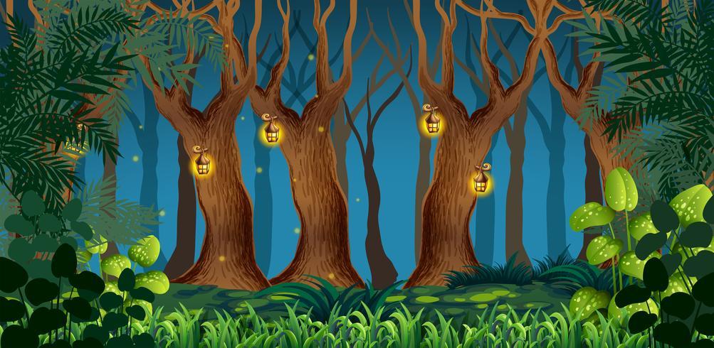 Paisaje de bosque oscuro de hadas
