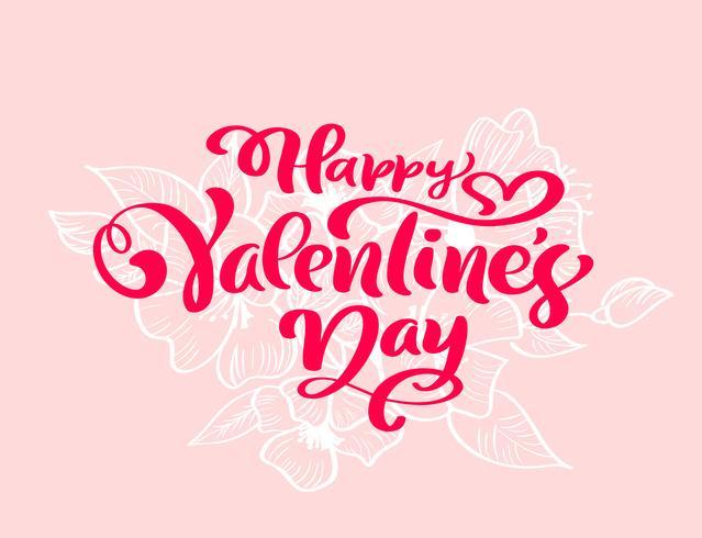 """Frase di calligrafia """"Buon San Valentino"""" con svolazzi e cuori"""