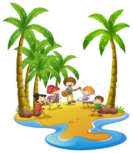 Feliz, crianças, tocando, instrumentos, ligado, ilha