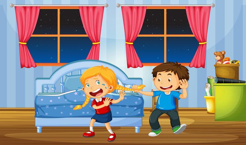 Broer plaagt haar zus in de slaapkamer