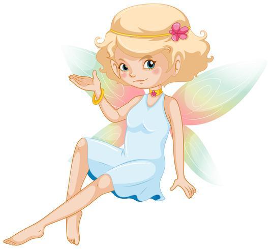 Leuke fee met kleurrijke vleugels en witte jurk
