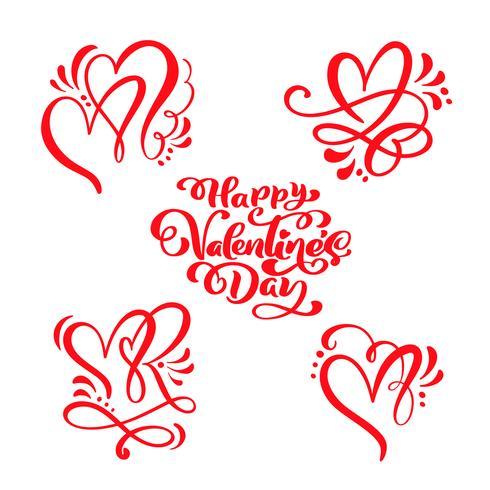 """Conjunto de texto de caligrafia vermelho """"feliz dia dos namorados"""" & corações"""