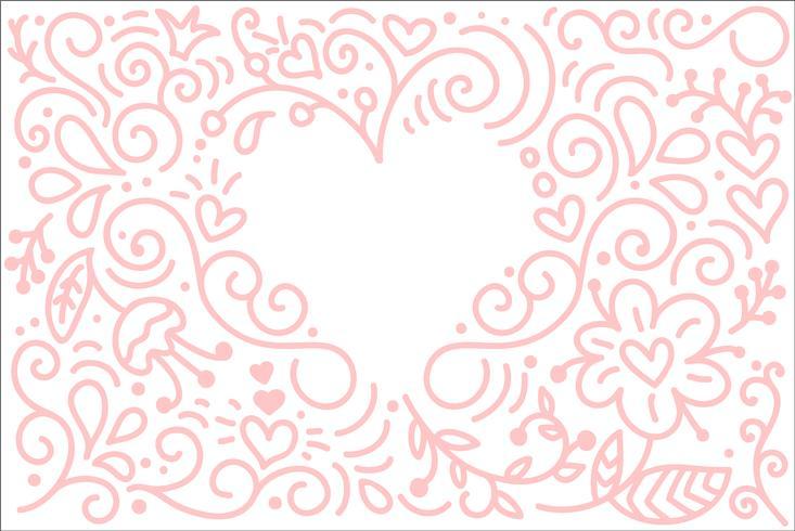 Vektormonoline Kalligraphiehintergrund für glücklichen Valentinsgrußtag. Valentine Hand gezeichnete Elemente. Urlaubsskizze doodle Designkarte mit Herzrahmen. Getrennter Illustrationsdekor für Web, Hochzeit und Druck