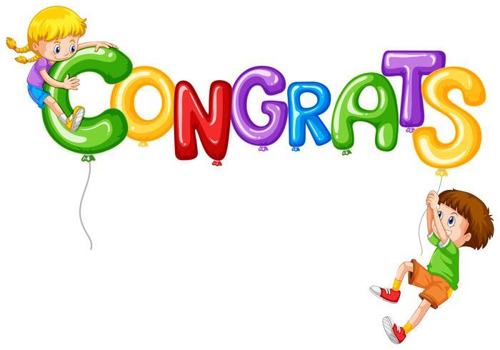 Girl and boy with balloon word congrats