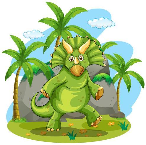 Dinosaure vert debout sur deux pieds