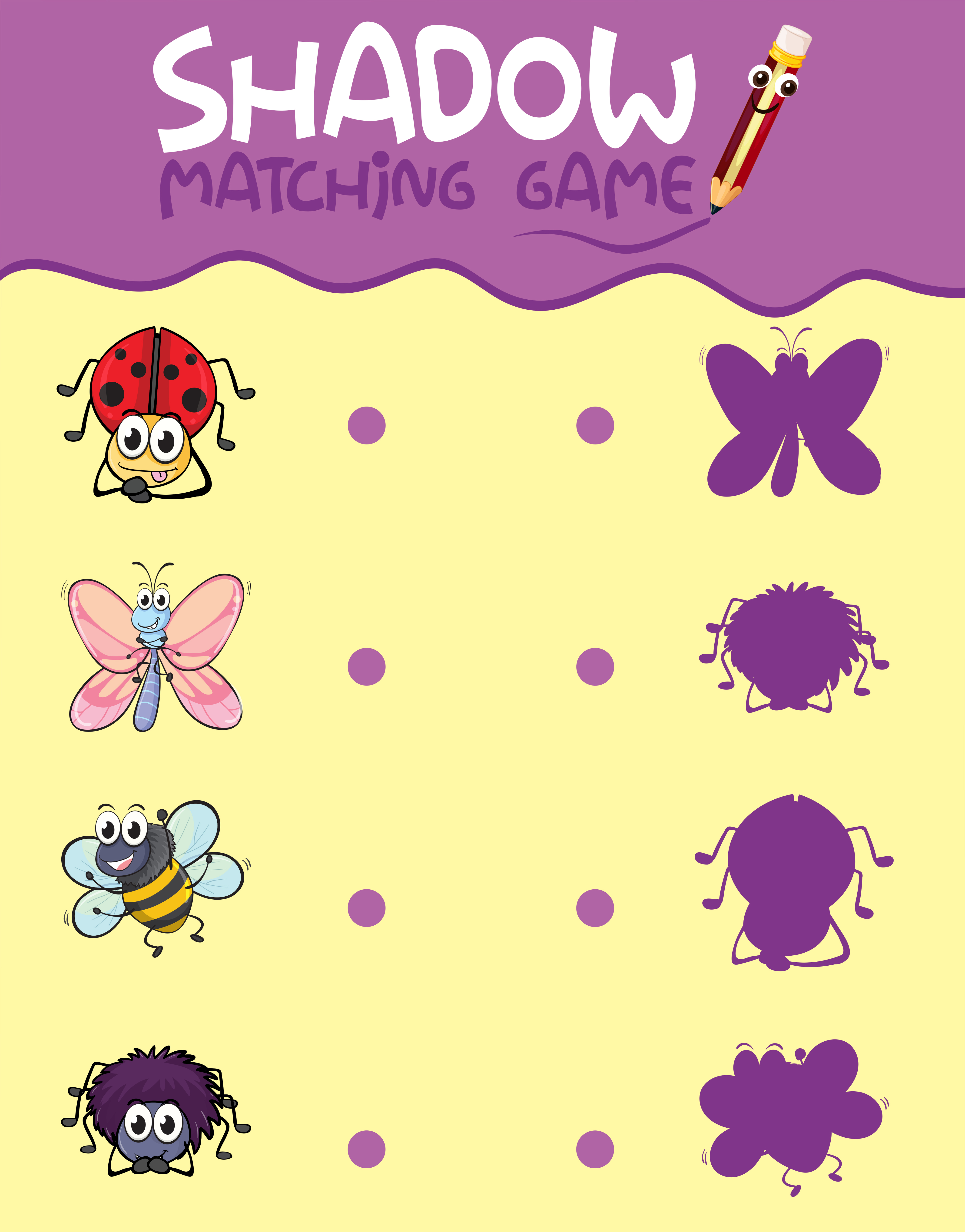 Insect Shadow Matching Game Template Download Free