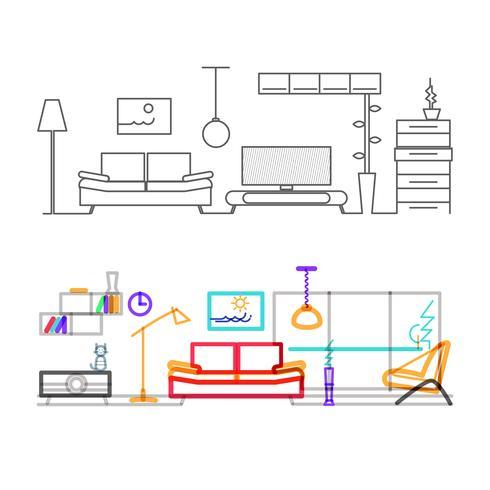 Linha fina design plano da moderna sala de estar com móveis, versão colorida das linhas na cor do modo de sobreposição.