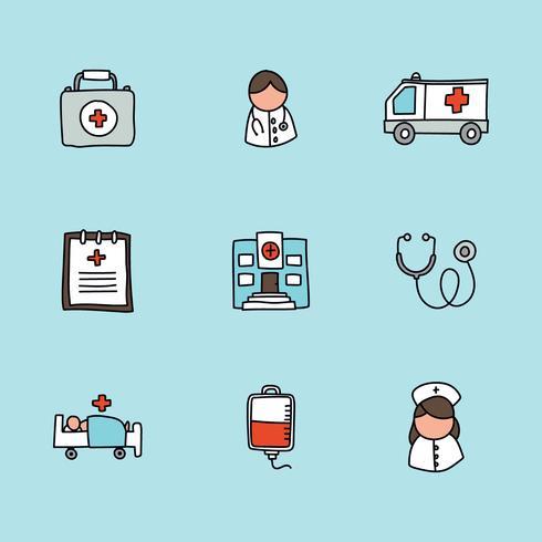 Ícones de cuidados de saúde doodled