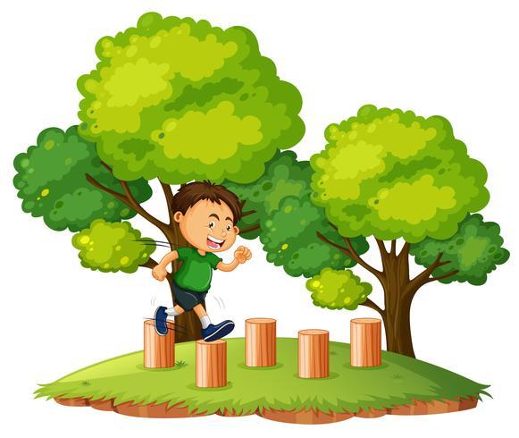 Un niño saltando en la madera