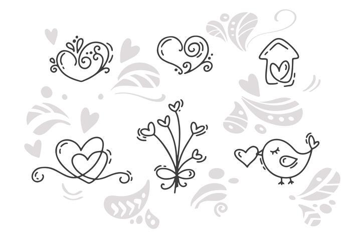 Vector monoline dia dos namorados mão desenhada elementos. Feliz Dia dos namorados. Cartão do projeto do doodle do esboço do feriado com coração. Decoração de ilustração isolada para web, casamento e impressão