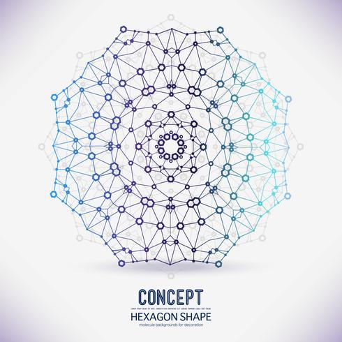 Reticolo geometrico astratto, la portata delle molecole, le molecole nel cerchio.