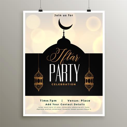 Plantilla iftar fiesta de celebración para la temporada de ramadan
