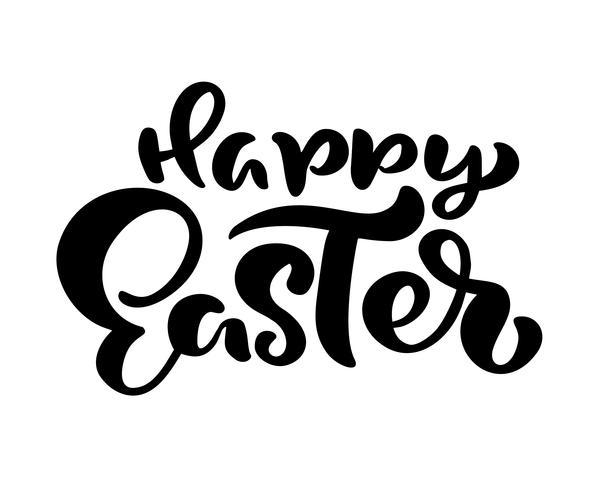 Mão desenhada feliz Páscoa moderna escova caligrafia texto. Vetor de ilustração de tinta. Isolado no fundo branco