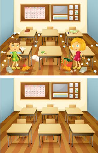 Students cleaning classroom set
