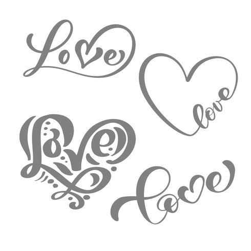 Conjunto de caligrafía gris palabra amor