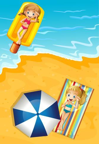 Meninas, verão, praia, feriado