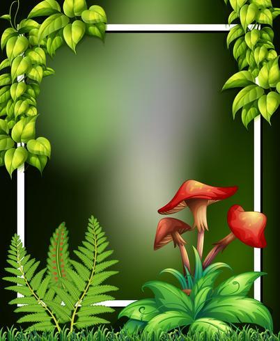 Um quadro verde natural e cogumelo vetor