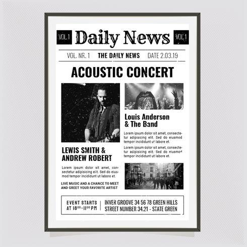 Vector nieuws papier concertposter