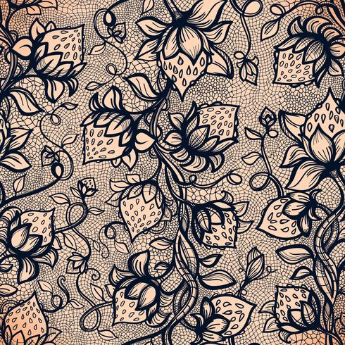 Vector lace seamless pattern decorative strawberry, leaves, intertwined with viscous of lines