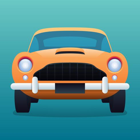 Illustration vintage de voiture jaune rétro vecteur