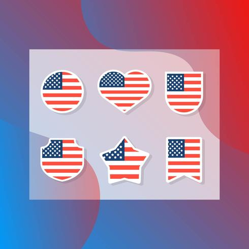 Flat Modern American Flag Set Collection vector
