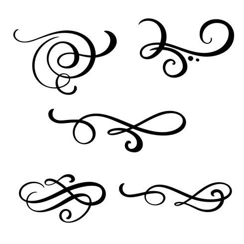 Conjunto de vector vintage línea elegante divisores, remolinos y esquinas