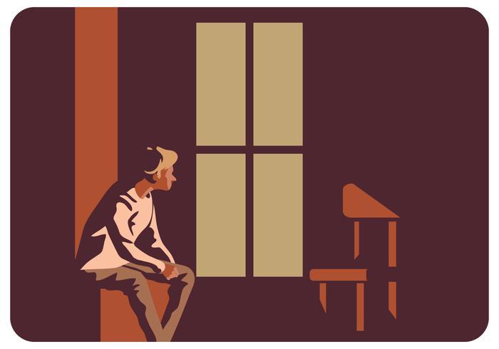 Hombre deprimido y su silla Vector