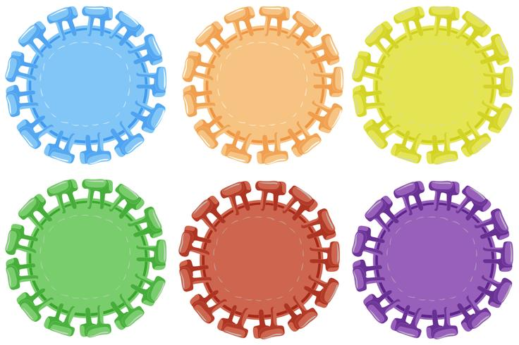Round badges in six colors